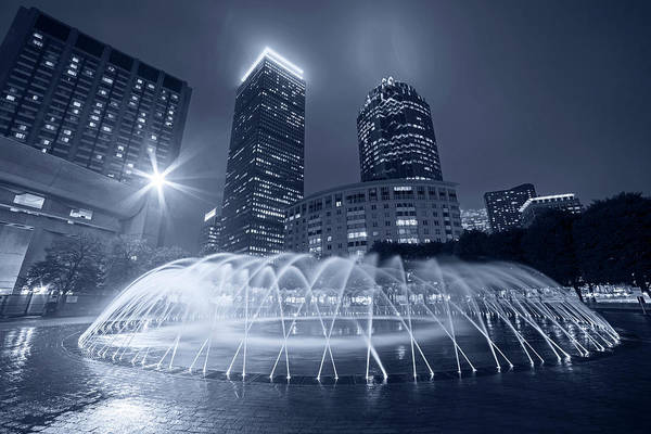 Photograph - Monochrome Blue Boston Reflecting Pool Fountain Boston Ma by Toby McGuire