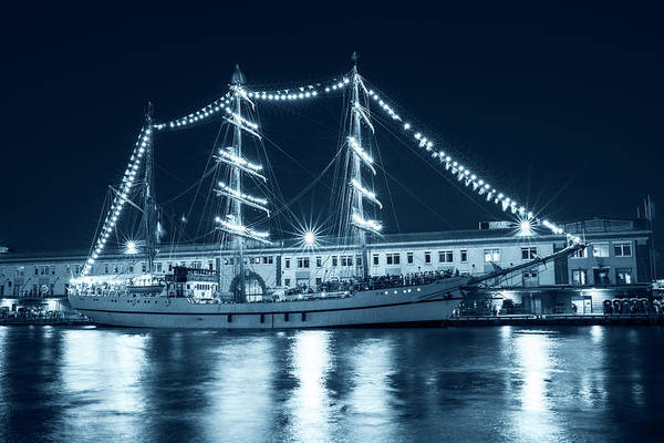 Photograph - Monochrome Blue Boston Tall Ships At Night Boston Ma by Toby McGuire