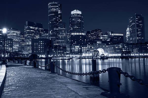 Photograph - Monochrome Blue Boston Waterfront Boston Skyline Boston Ma by Toby McGuire