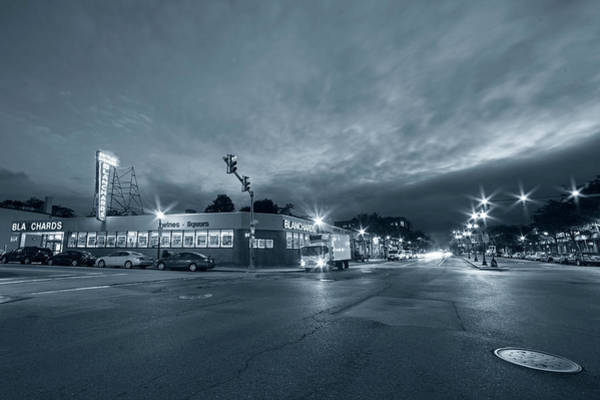 Photograph - Monochrome Blue Brighton Ave Packard's Corner Allston Ma by Toby McGuire