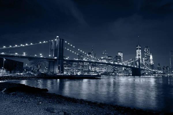 Photograph - Monochrome Blue Brooklyn Bridge New York City by Toby McGuire