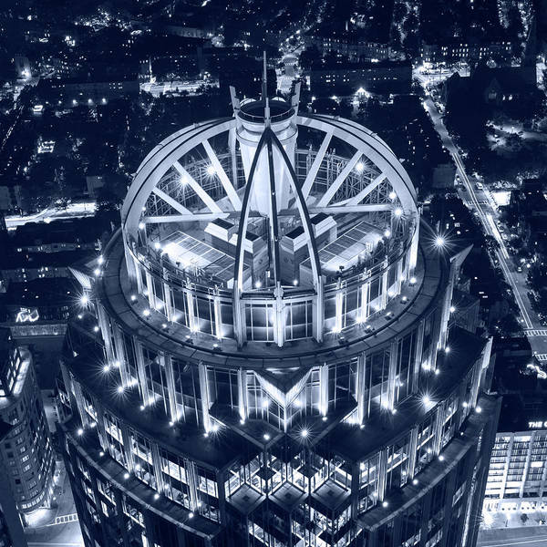 Photograph - Monochrome Blue Looking Down On The Huntington Street Building Boston Ma by Toby McGuire