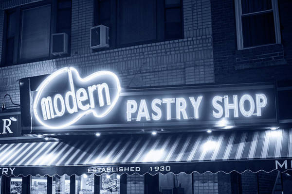 Photograph - Monochrome Blue Modern Pastry Shop Boston Ma North End Hanover Street by Toby McGuire