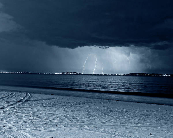 Photograph - Monochrome Blue Nights Lightning Over Nahant From Revere Beach Revere Ma by Toby McGuire