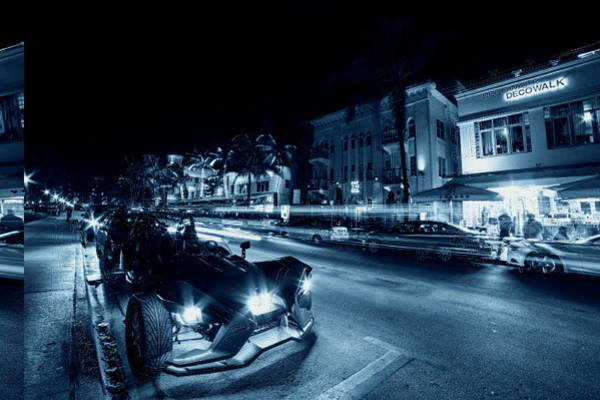 Photograph - Monochrome Blue Nights Ocean Ave At Night Miami Florida Art Deco by Toby McGuire