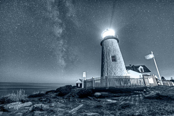 Wall Art - Photograph - Monochrome Blue Nights Pemaquid Point Lighthouse Bristol Road Maine by Toby McGuire