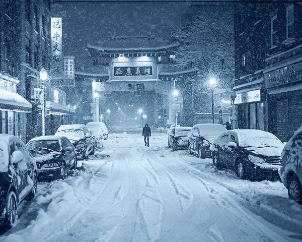 Photograph - Monochrome Blue Nights Snow Storm In Chinatown Boston Chinatown Gate by Toby McGuire