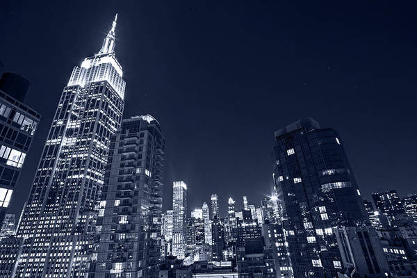 Photograph - Monochrome Blue Nights The Empire State Building In Red White And Blue New York Ny by Toby McGuire