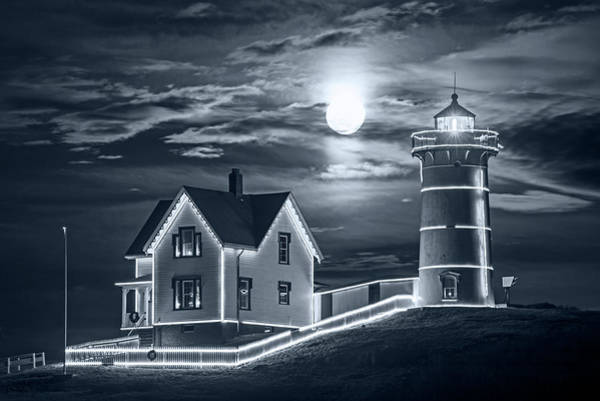 Photograph - Monochrome Blue Nights The Supermoon Rising Over The Nubble Lighthouse York Maine by Toby McGuire