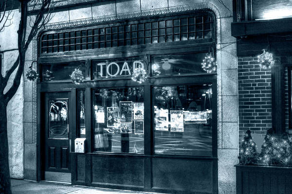 Photograph - Monochrome Blue Nights Toad Porter Square Cambridge Ma by Toby McGuire