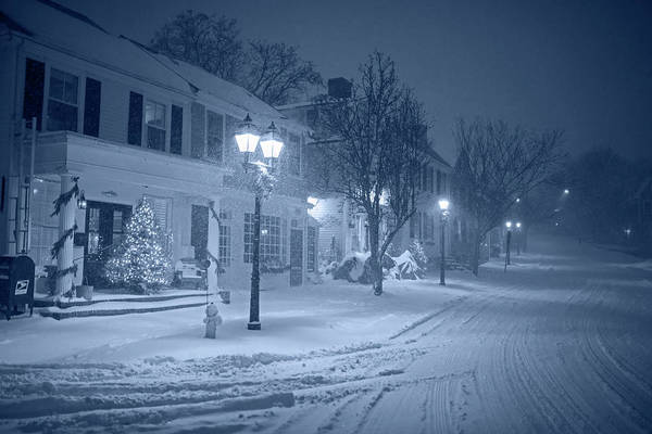 Photograph - Monochrome Blue Old Town Marblehead Snowstorm Looking Up At Abbot Hall Christmas Trees by Toby McGuire