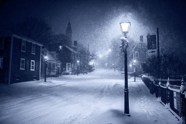 Photograph - Monochrome Blue Old Town Marblehead Snowstorm Looking Up At Abbot Hall by Toby McGuire