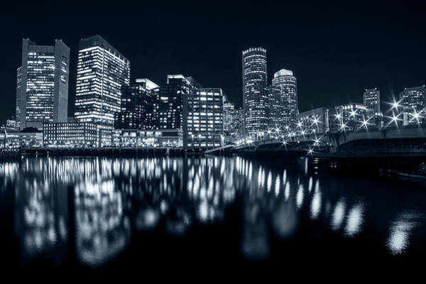 Photograph - Monochrome Blue Seaport Bridge Boston Skyline Reflection Boston Ma by Toby McGuire
