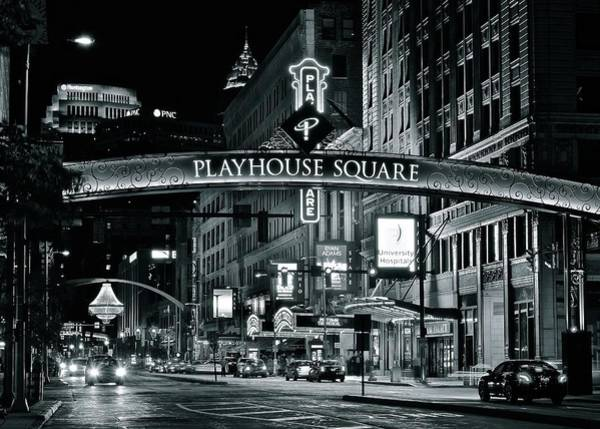 Playhouse Photograph - Monochrome Grayscale Palyhouse Square by Frozen in Time Fine Art Photography