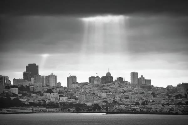 Photograph - Monochrome Lights Over San Francisco California by Gregory Ballos