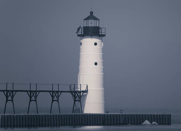 Photograph - Monochrome Manistee Lighthouse by Dan Sproul