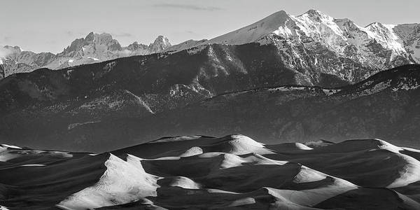 Wall Art - Photograph - Monochrome Morning Sand Dunes And Snow Covered Peaks by James BO Insogna