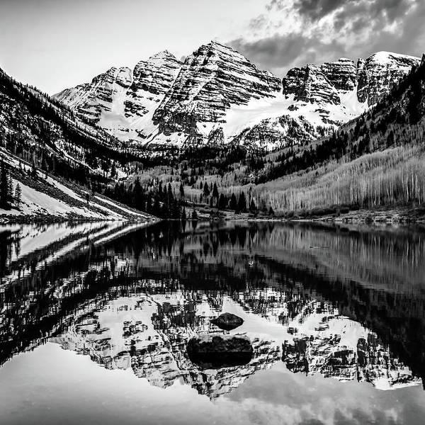 Photograph - Monochrome Mountain Landscape Reflections - Aspen Colorado Maroon Bells 1x1 by Gregory Ballos