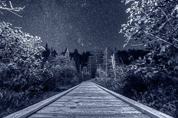 Photograph - Monochrome Nights Hiking Into The Night Adirondack Log Keene Valley Ny New York by Toby McGuire