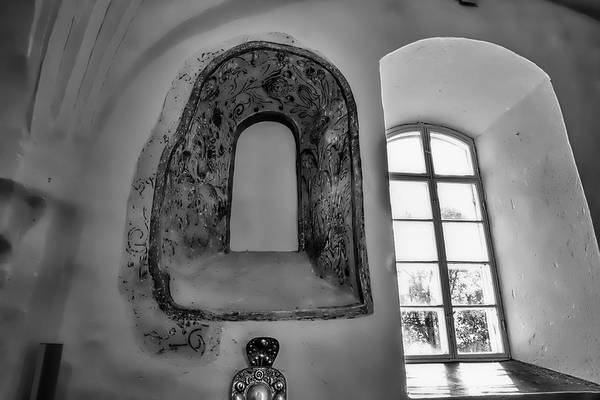 Photograph - monochrome Old window in Teda church. by Leif Sohlman