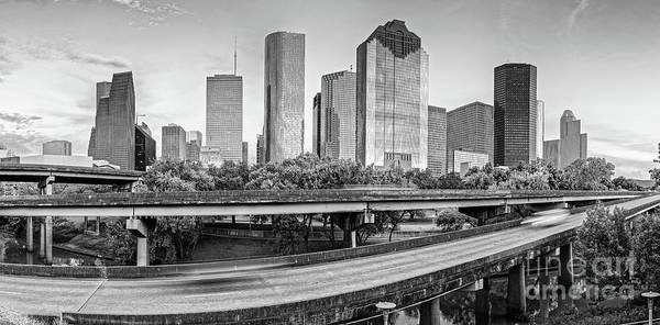 Photograph - Monochrome Panorama Of Downtown Houston Skyline From Buffalo Bayou Park - Harris County Houston Texa by Silvio Ligutti