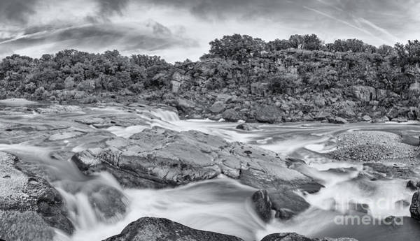 Bald Cypress Photograph - Monochrome Panorama Of Pedernales Falls State Park - Texas Hill Country by Silvio Ligutti