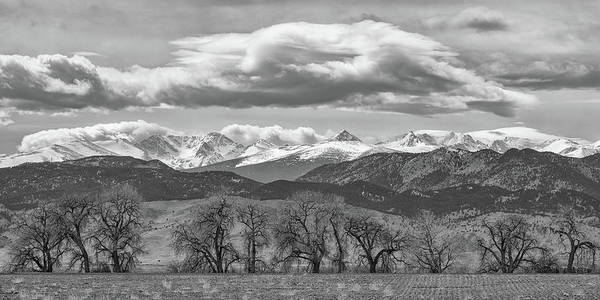Wall Art - Photograph - Monochrome Rocky Mountain Front Range Panorama Range Panorama by James BO Insogna