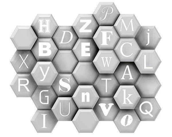 Digital Art - Monochrome Typehexagons by Alberto RuiZ