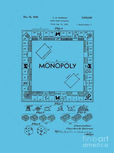 Patent Drawing - Monopoly Original Patent Art Drawing T-shirt by Edward Fielding