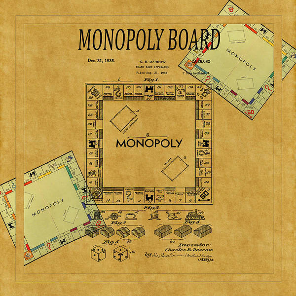 Monopoly Photograph - Monopoly Patent 1935 by Andrew Fare
