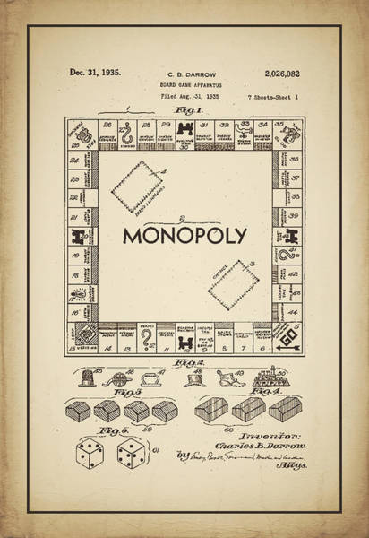Digital Art - Monopoly Patent 1935 Vintage Border by Terry DeLuco
