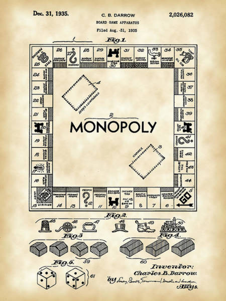 Dice Digital Art - Monopoly Patent 1935 - Vintage by Stephen Younts