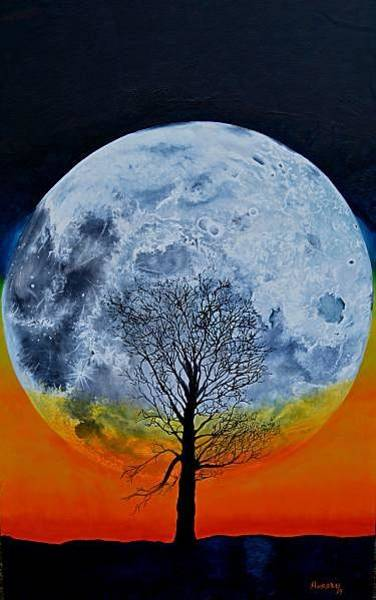Wall Art - Painting - Moonrise by Andrew Hollimon