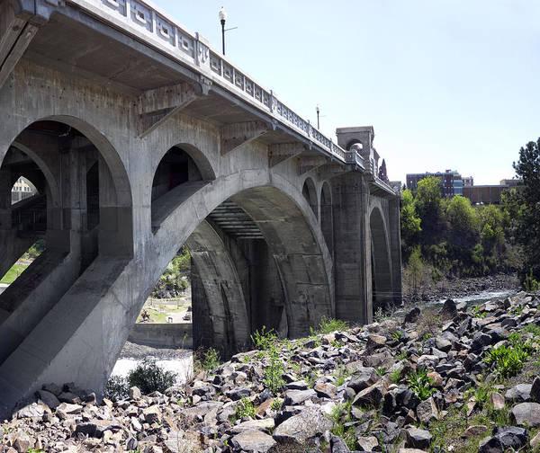 Centennial Bridge Photograph - Monroe St Bridge From Centennial Trail by Daniel Hagerman
