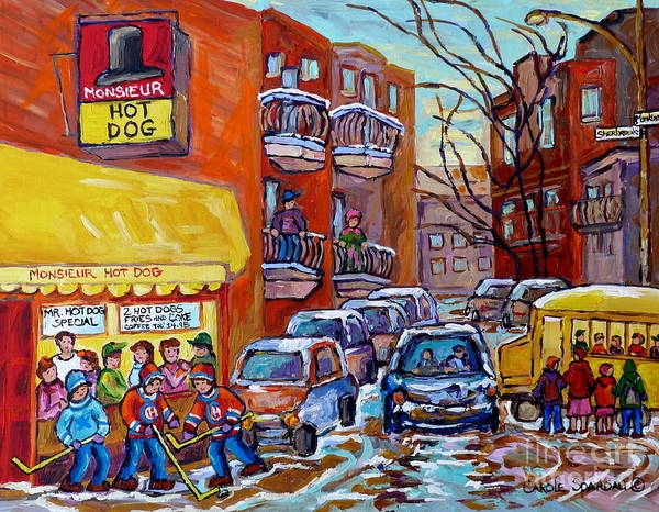 Painting - Monsieur Hot Dog Montreal 375 Canadian Hockey Art Painting Carole Spandau Winter City Scenes         by Carole Spandau