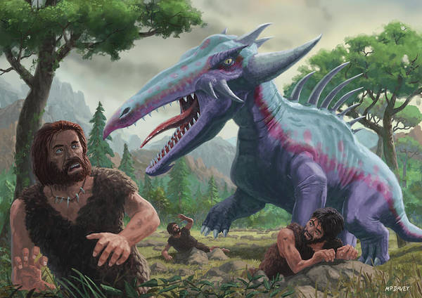 Painting - Monster Attacking Cavemen by Martin Davey