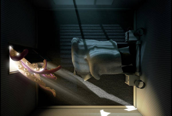 Tentacles Digital Art - Monster Behind The Door by Allan Swart