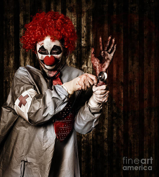 Dread Photograph - Monster Clown Checking The Pulse On A Severed Hand by Jorgo Photography - Wall Art Gallery