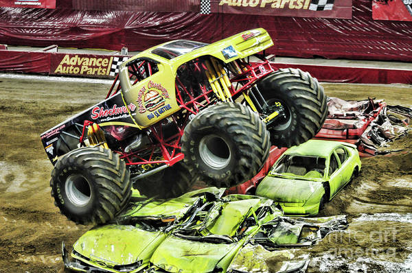 Wall Art - Photograph - Monster Truck -shockwave Warming Up by Paul Ward