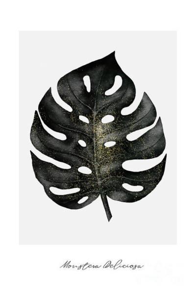 Gold Leaves Digital Art - Monstera Deliciosa Leaf by Natalie Skywalker
