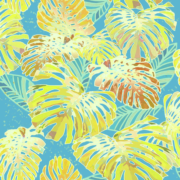 Digital Art - Monstera Jungle In Blue And Gold by Karen Dyson