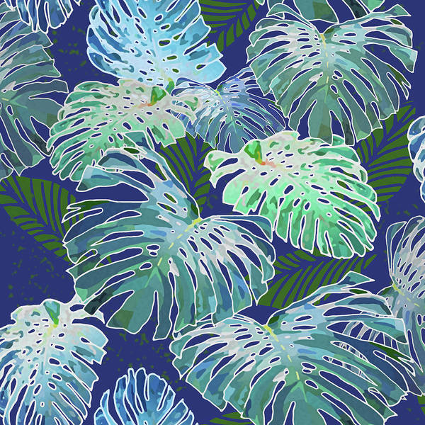 Digital Art - Monstera Jungle On Indigo by Karen Dyson