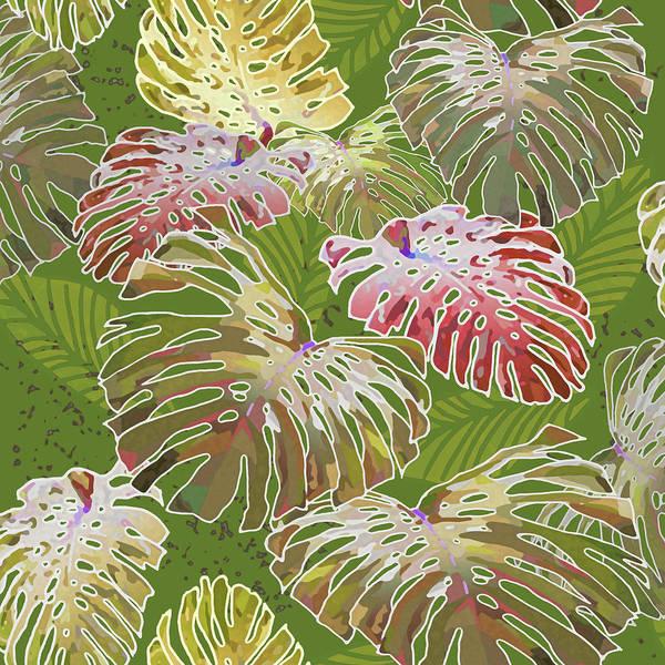 Digital Art - Monstera Jungle On Olive by Karen Dyson