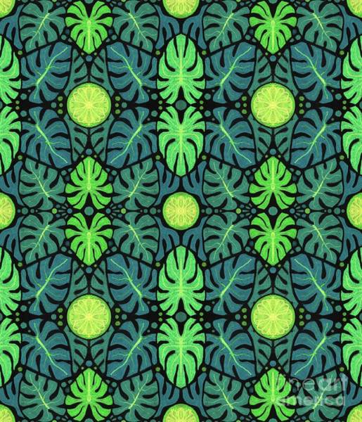 Mixed Media - Monstera Leaves Pattern by Julia Khoroshikh
