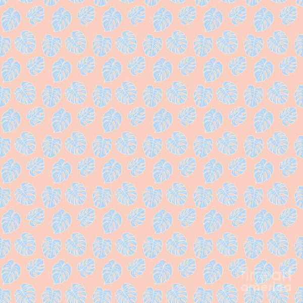 Textura Wall Art - Digital Art - Monstera Tropical Pastel Coral And Lavender Pattern by Studio Textura