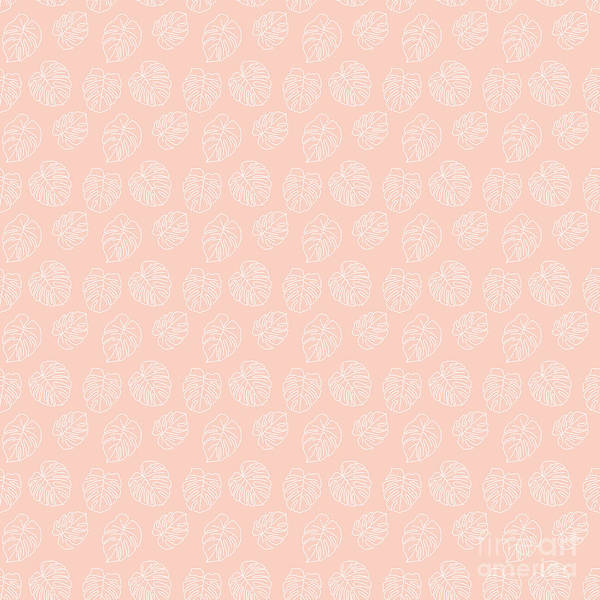 Textura Wall Art - Digital Art - Monstera Tropical Pastel Coral Pattern by Studio Textura