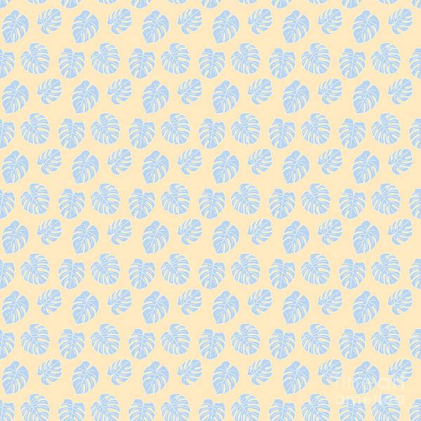 Textura Wall Art - Digital Art - Monstera Tropical Pastel Lemon And Lavender Pattern by Studio Textura