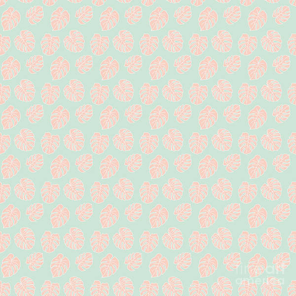 Textura Wall Art - Digital Art - Monstera Tropical Pastel Mint And Coral Pattern by Studio Textura