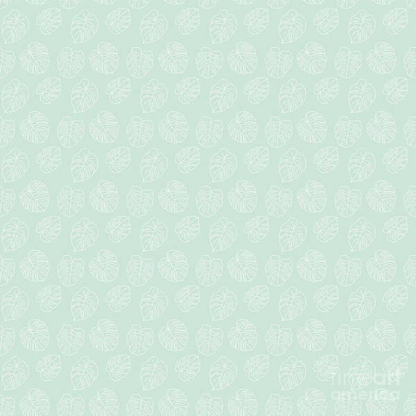 Textura Wall Art - Digital Art - Monstera Tropical Pastel Mint Pattern by Studio Textura