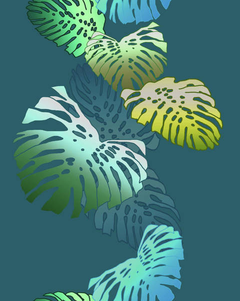Digital Art - Monstera Vine Teal by Karen Dyson